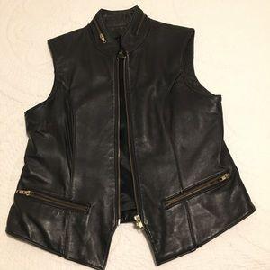 Leather Vest - Black - Large